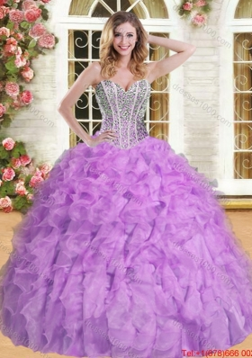 Modest Visible Boning Quinceanera Dress with Beading and Ruffles for Spring