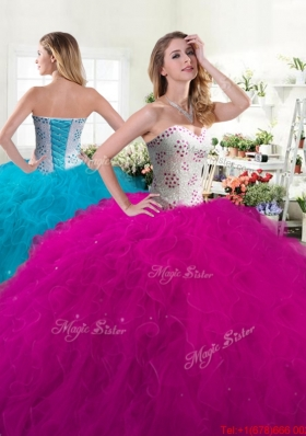 New Style Beaded Bodice and Ruffled Quinceanera Dress in Tulle