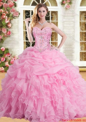 Perfect Organza Ruffled and Beaded Sweet 16 Dress in Rose Pink