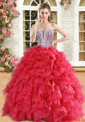 Perfect Visible Boning Beaded Bodice and Ruffled Quinceanera Dress in Organza