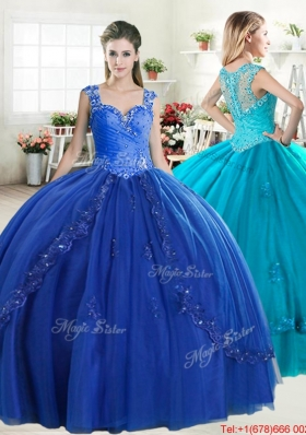 Popular Straps Beaded and Applique Quinceanera Dress in Royal Blue