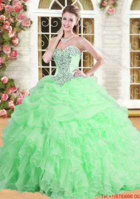 Spring Elegant Applique and Ruffled Spring Green Quinceanera Dress in Organza