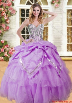 Spring Luxurious Visible Boning Beaded and Bubble Quinceanera Dress in Organza