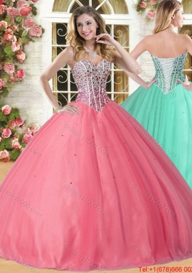 Spring New Style Ball Gown Beaded Bodice Tulle Sweet 16 Dress