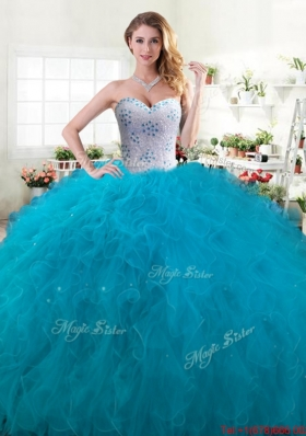 Fashionable Teal Ball Gown Quinceanera Dress with Beading and Ruffles