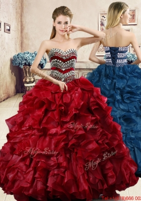 Perfect Beaded and Ruffled Wine Red Quinceanera Dress in Organza