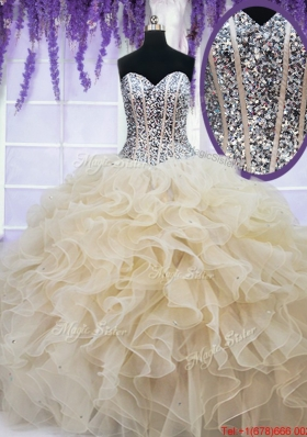 2017 Classical Visible Boning Beaded Bodice Champagne Quinceanera Dress in Organza
