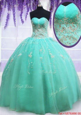 2017 Modest Beaded and Applique Zipper Up Quinceanera Dress in Organza