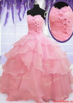 Cute Organza Baby Pink Quinceanera Dress with Appliques and Ruffled Layers
