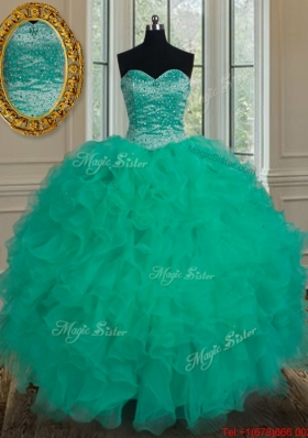 Unique Really Puffy Turquoise Sweet 16 Dress with Beading and Ruffles for Summer