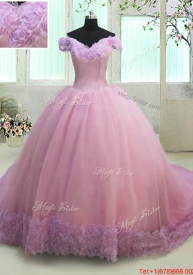 Off The Shoulder Lilac and Rose Pink Quinceanera Dress in Rolling Flowers and Tulle