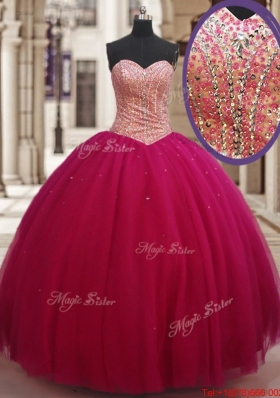Wonderful Ball Gown Beaded Bodice Tulle Sweet 16 Dress in Fuchsia