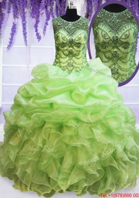 Wonderful See Through Scoop Beaded Bubble Quinceanera Dress in Spring Green