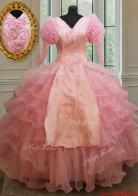 Cheap V Neck Embroideried and Ruffled Layers Quinceanera Dress in Baby Pink