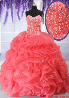 Clearance Visible Boning Beaded Bodice and Ruffled Quinceanera Dress in Organza