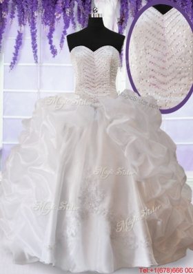 Modern Applique Beaded Bodice and Bubble Quinceanera Dress in White