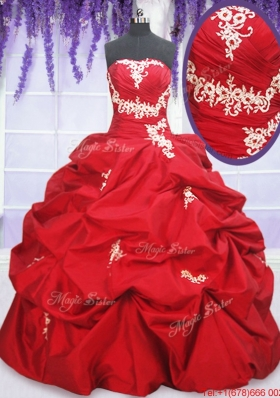 Romantic Puffy Skirt Red Sweet 15 Dress with Appliques and Pick Ups