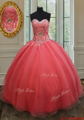 Beautiful Sweetheart Beaded Bodice Quinceanera Gown in Watermelon Red