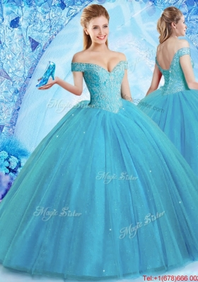 Classical Off the Shoulder Quinceanera Dress with Brush Train