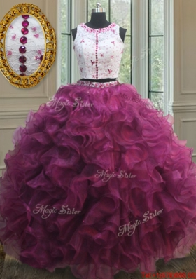 Discount Two Piece Laced Beaded Burgundy Quinceanera Dress with Ruffles