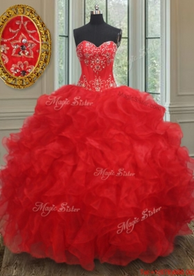 Elegant Organza Red Quinceanera Dress with Beading and Ruffles
