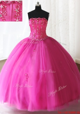 Exclusive Visible Boning Strapless Beaded Quinceanera Dress in Hot Pink