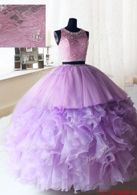 Exquisite Laced and Ruffled Quinceanera Dress in Organza and Tulle