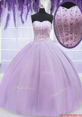 Gorgeous Visible Boning Beaded Bodice Lavender Quinceanera Dress in Organza