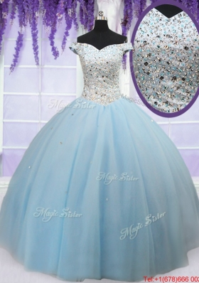 Luxurious Off the Shoulder Light Blue Quinceanera Dress with Beaded Bodice