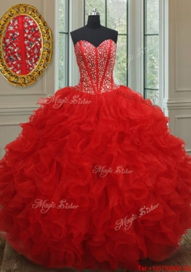 New Arrivals Visible Boning Red Quinceanera Dress with Beading and Ruffles