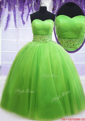 Simple Ruched Bodice Beaded Decorated Waist Spring Green Quinceanera Dress