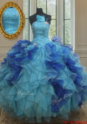 Best Selling Feather Beaded Ruffled Two Tone Quinceanera Dress in Organza