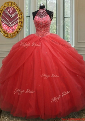 Best Selling See Through Beaded Decorated Halter Top Quinceanera Dress
