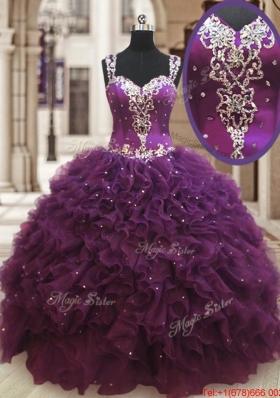 Lovely See Through Back Straps Zipper Up Dark Purple Quinceanera Dress