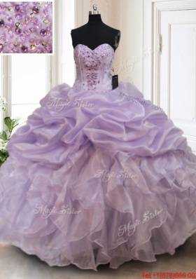 Luxurious Organza Lavender Sweet 16 Dress with Bubbles and Ruffles
