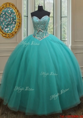 Popular Really Puffy Beaded Bodice Quinceanera Dress in Turquoise