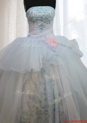 Strapless Light Blue Quinceanera Dress with Appliques and Handmade Flowers