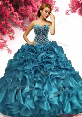Affordable Teal Organza Quinceanera Dress with Beading and Ruffles
