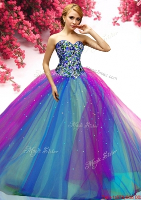 Discount Beaded Bodice Tulle Quinceanera Dress in Multi Color
