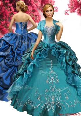 Discount Embroideried and Pick Ups Taffeta Quinceanera Dress in Teal