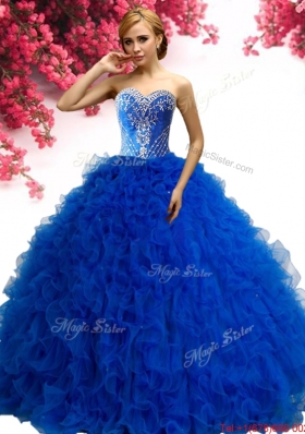 Elegant Royal Blue Tulle Sweet 16 Dress with Ruffles and Beading