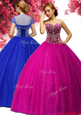 Hot Sale Beaded Fuchsia Sweet 16 Gown in Tulle