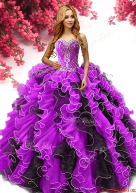 Latest Beaded and Ruffled Two Tone Quinceanera Dress in Organza