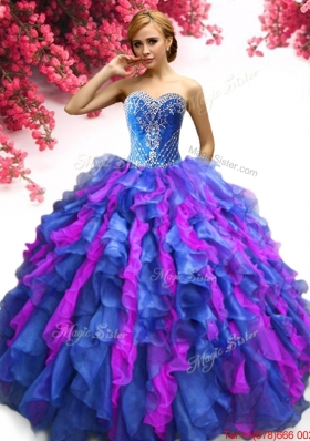 Lovely Beaded and Ruffled Sweet 16 Dress in Two Tone