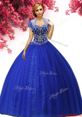 Low Price Beaded Royal Blue Sweet 16 Dress in Tulle