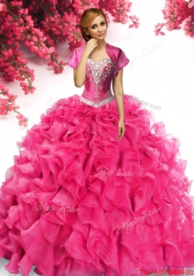 Luxurious Applique and Ruffled Organza Quinceanera Dress in Hot Pink