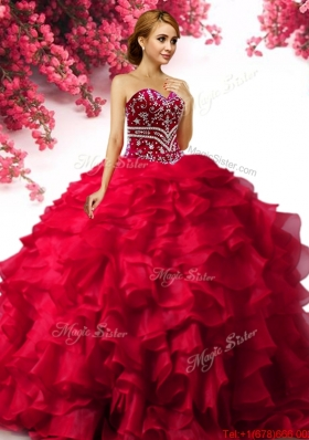 Modest Big Puffy Red Quinceanera Dress with Ruffles and Beading