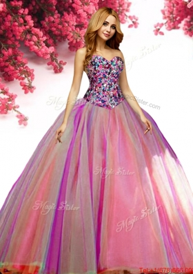 Most Popular Beaded Bodice Rainbow Quinceanera Dress in Tulle
