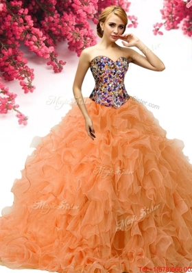 New Style Beaded and Ruffled Orange Quinceanera Dress in Organza