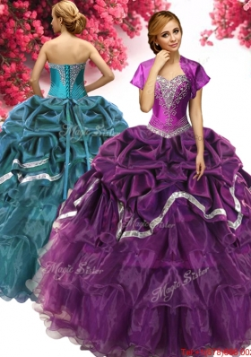 Unique Dark Purple Quinceanera Dress with Ruffled Layers and Beading
